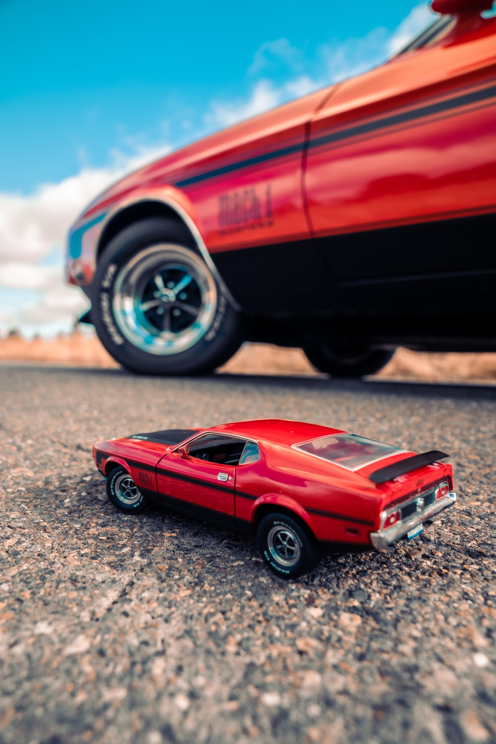 red coupe die cast model