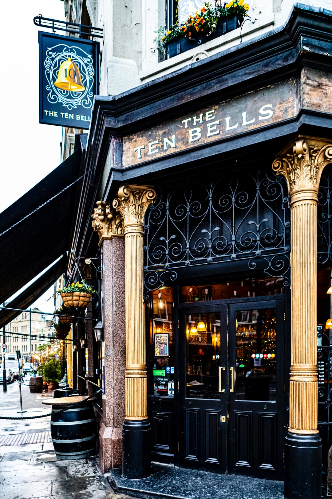 The Ten Bells Pub at Spitalfields, London January 2020. Rumored to be the place where Jack the Ripper visited for drinks.
