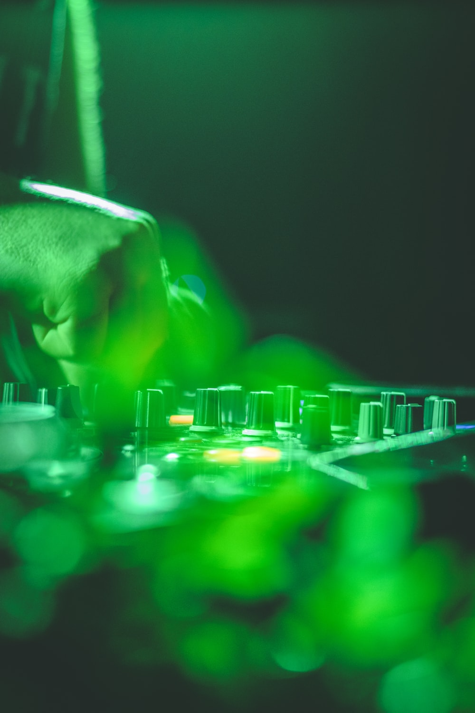 green and black audio mixer