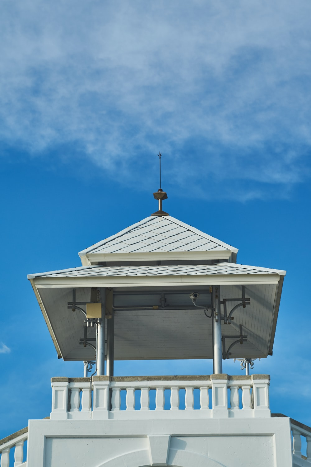 white and brown wooden gazebo under blue sky during daytime