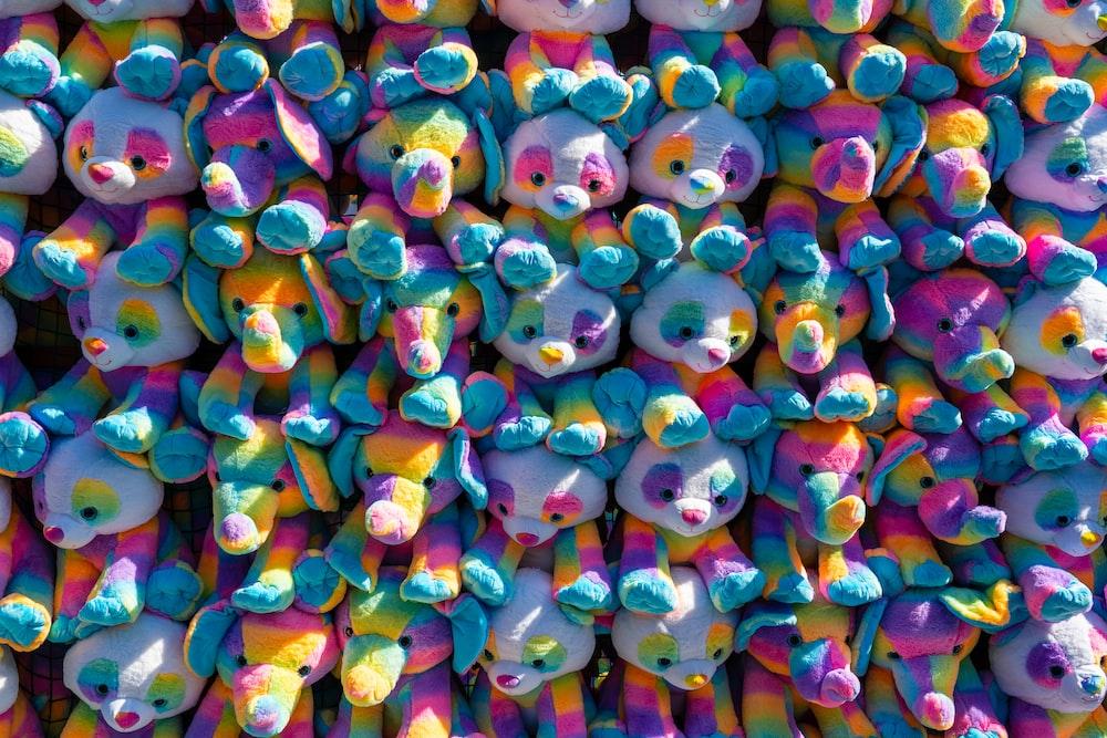 multi colored plastic toy lot