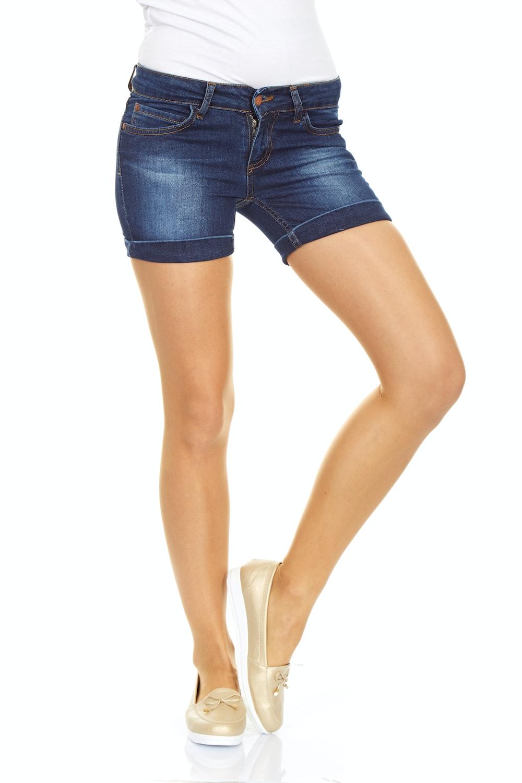 woman in blue denim shorts