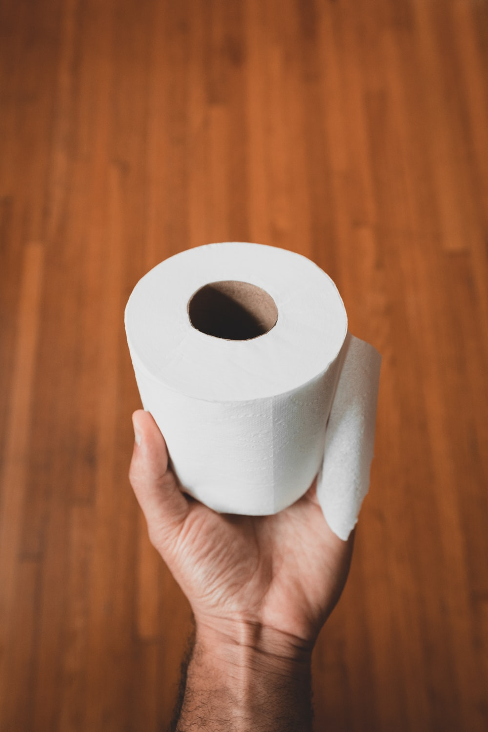 person holding white toilet paper roll