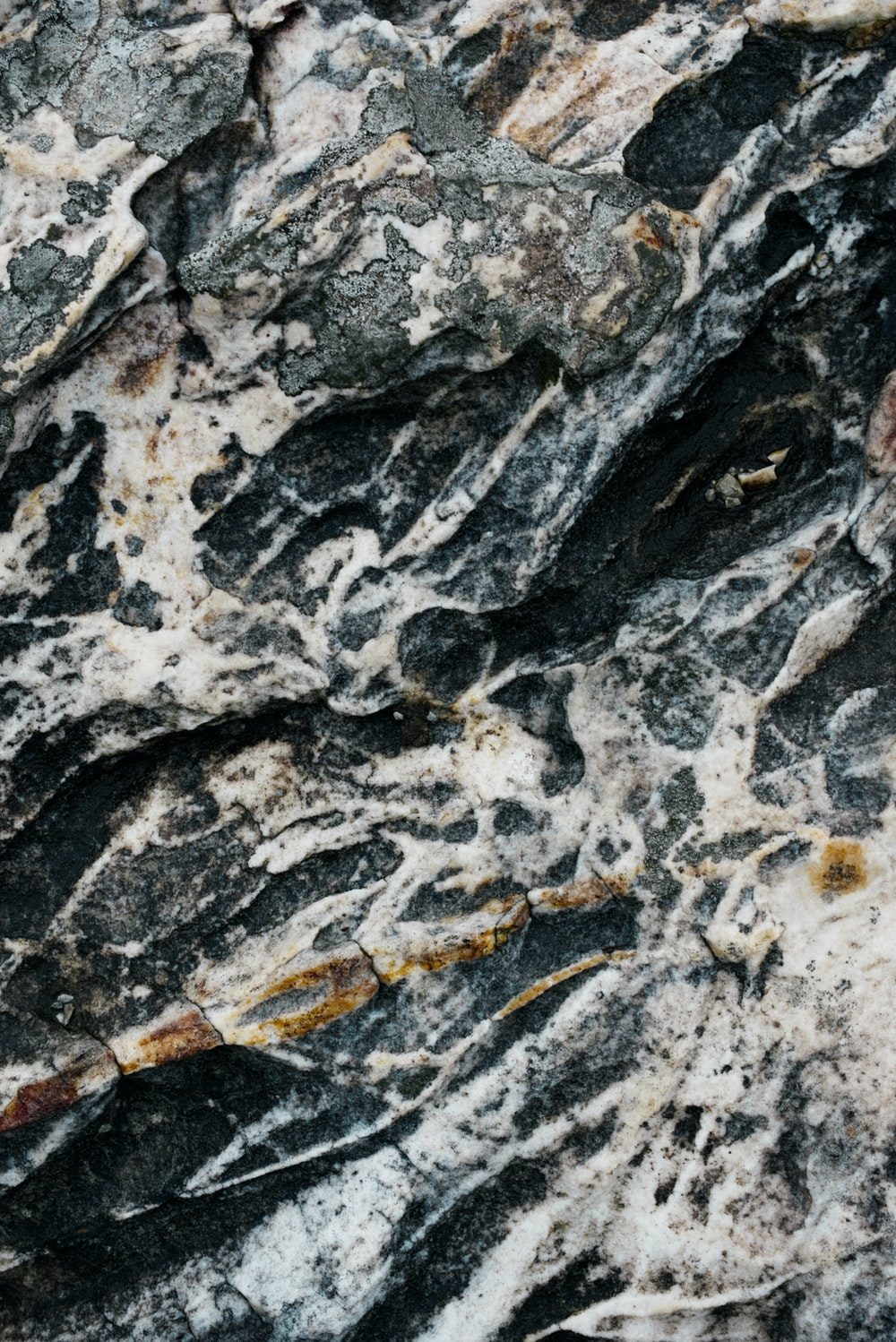 white and black rock formation