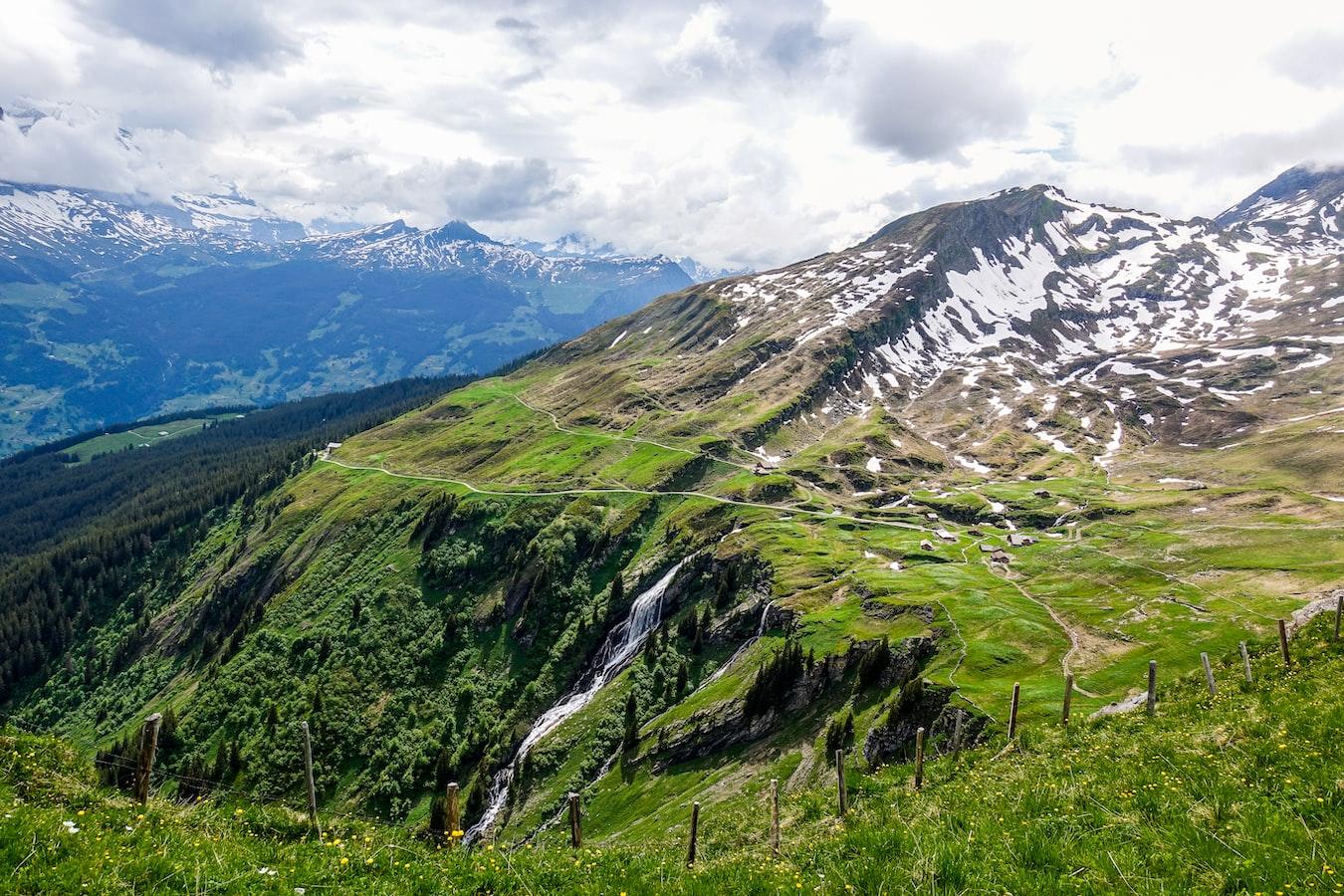 view of mountain and a waterfall near Interlaken, Switzerland