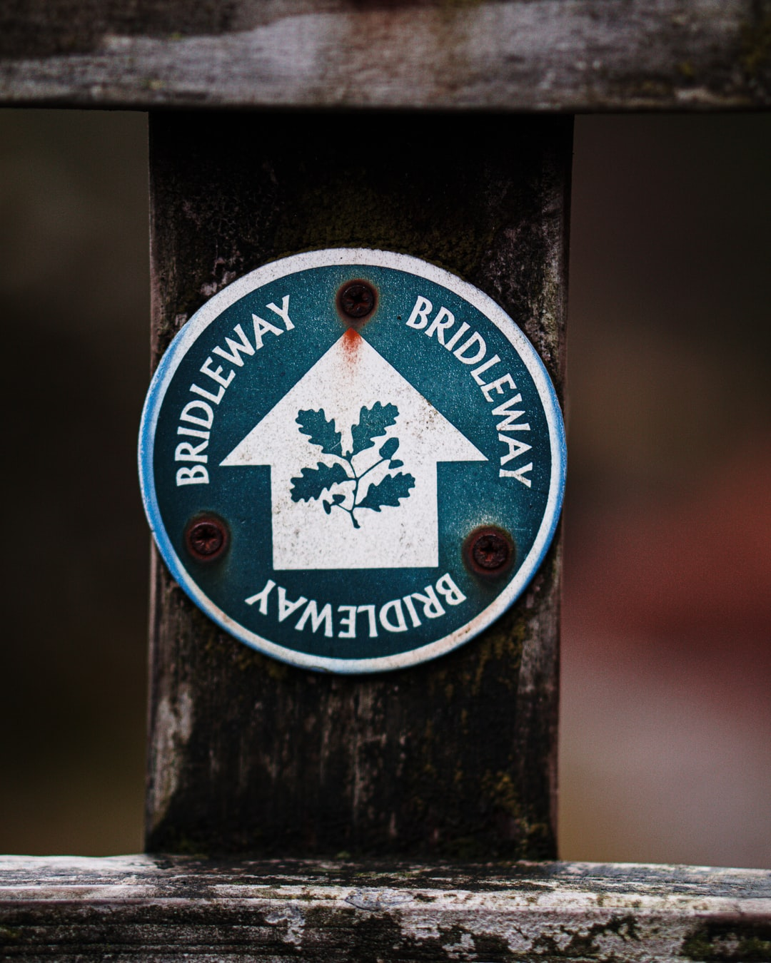 National Trust bridleway path marker for hiking and trails.