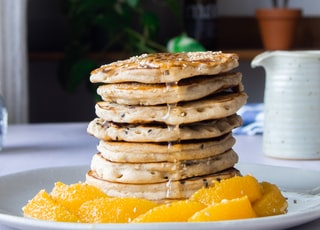 pancakes on white ceramic plate