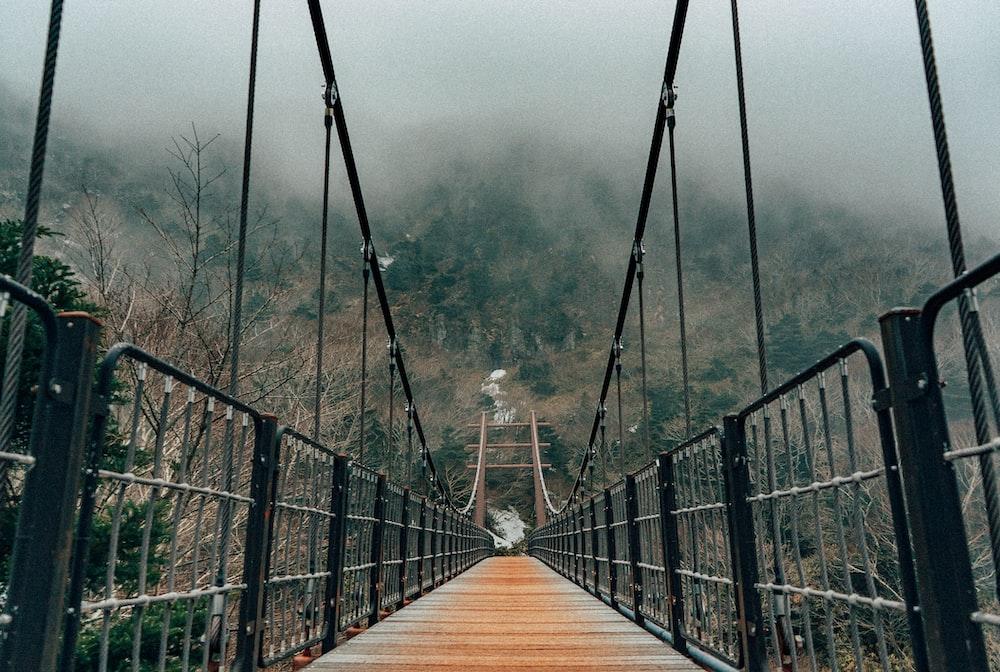 brown wooden bridge with fog