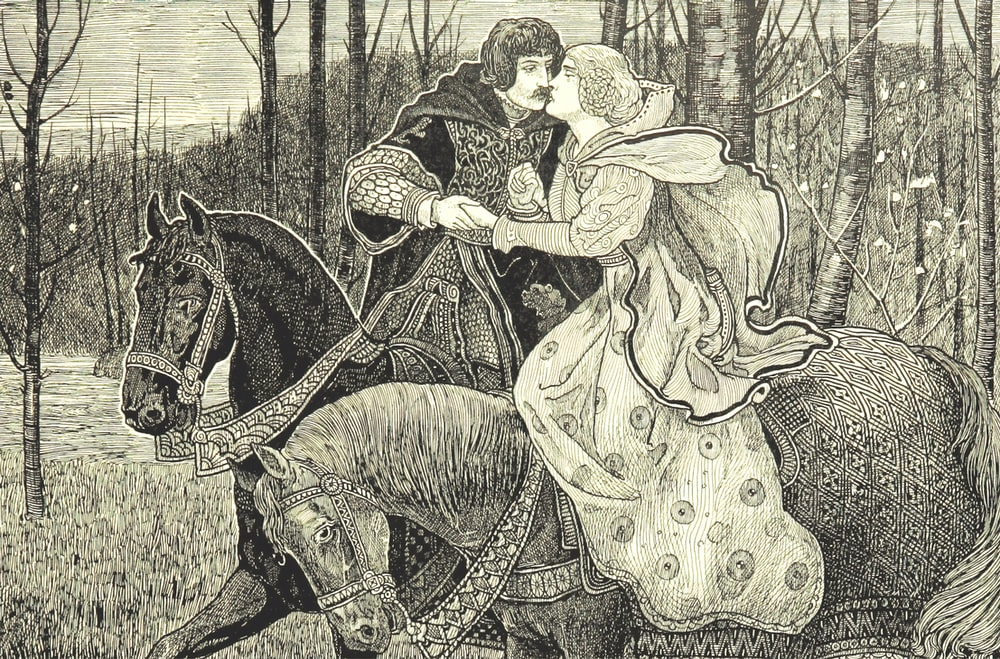 man and woman sitting on horse painting