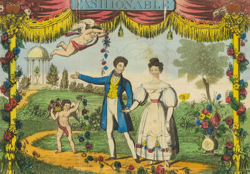 woman in white dress standing beside man in blue dress painting