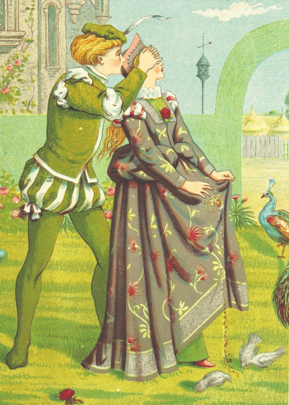 man in green and brown dress holding a woman in red dress painting