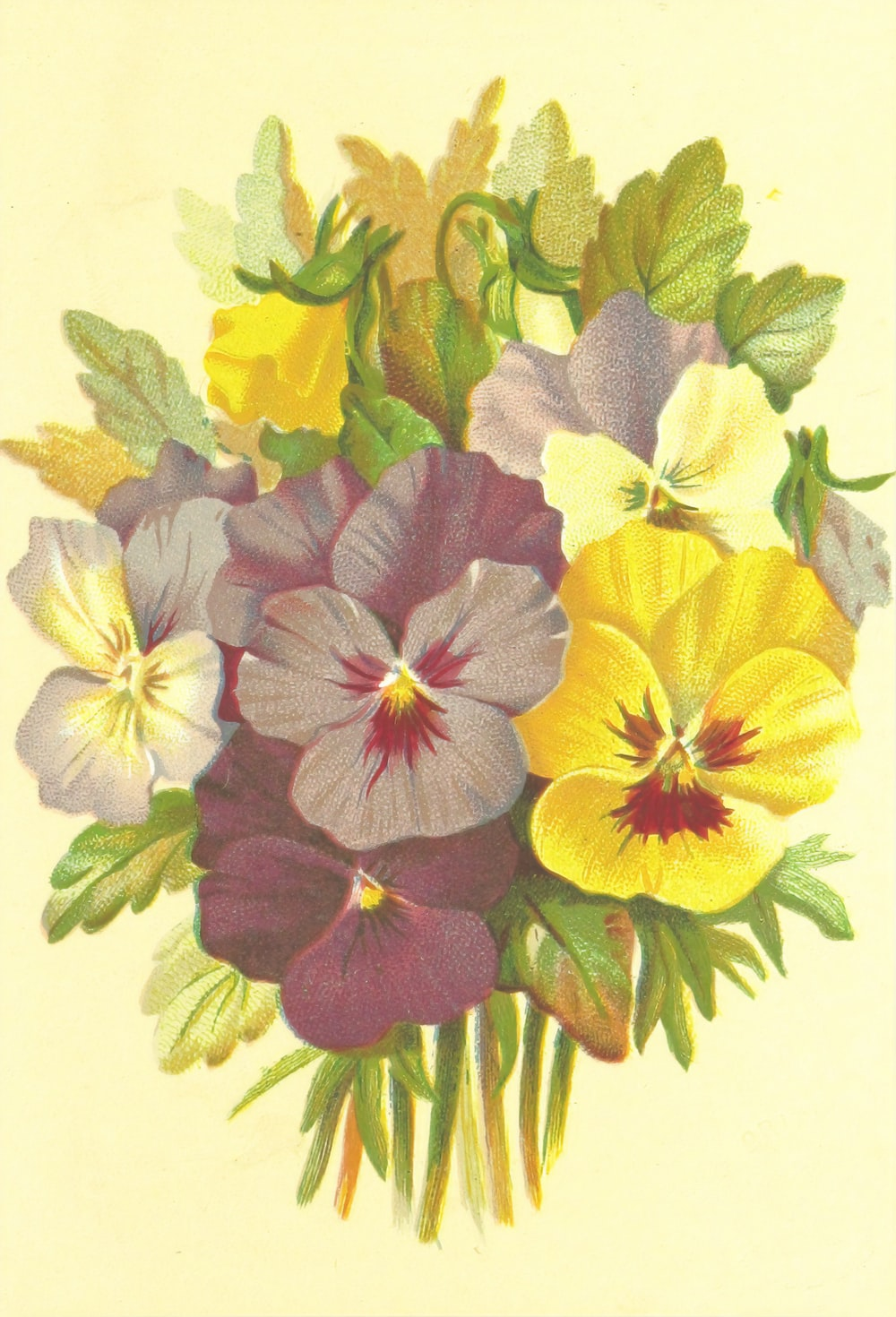 yellow and purple floral textile