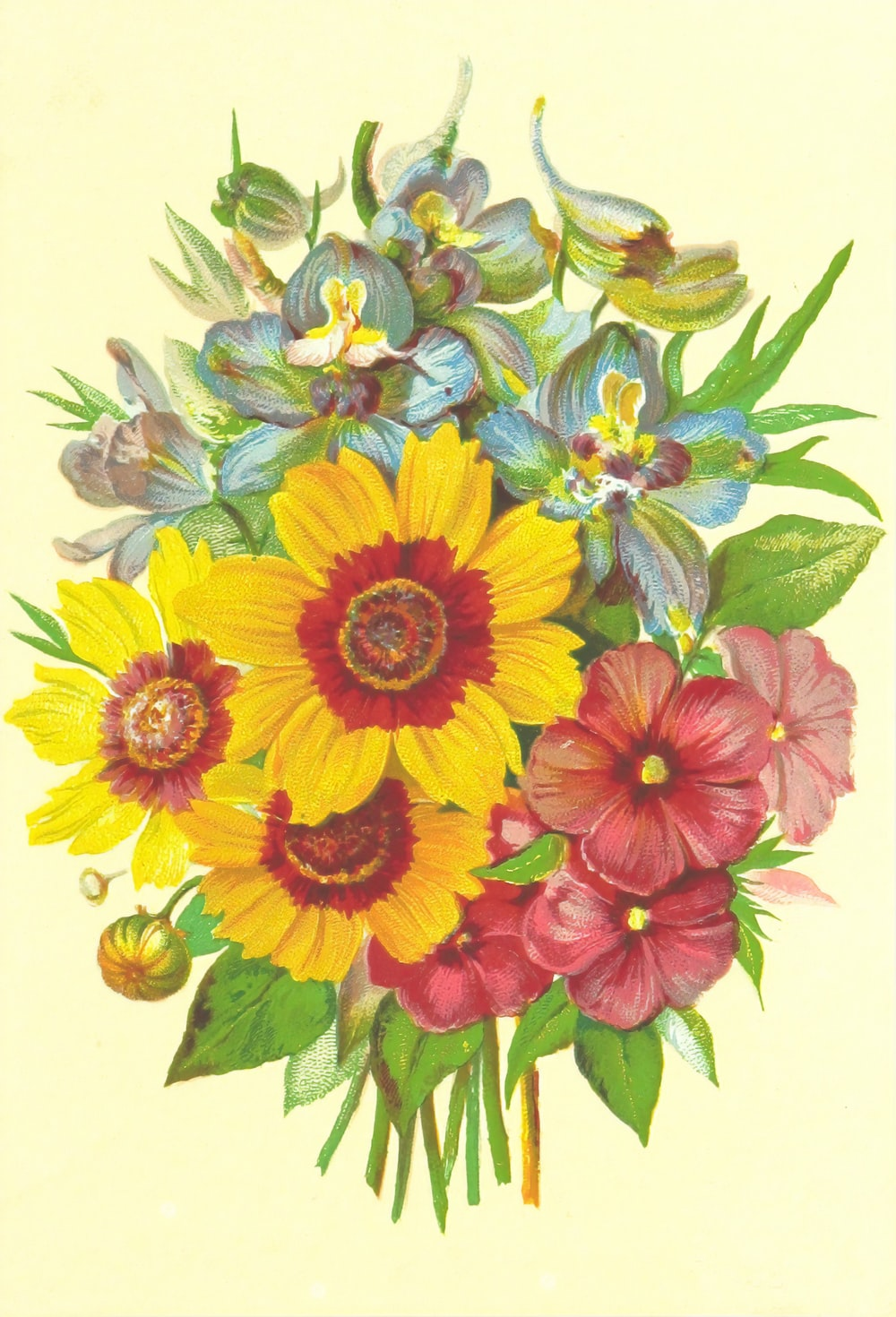 red blue and yellow flower painting