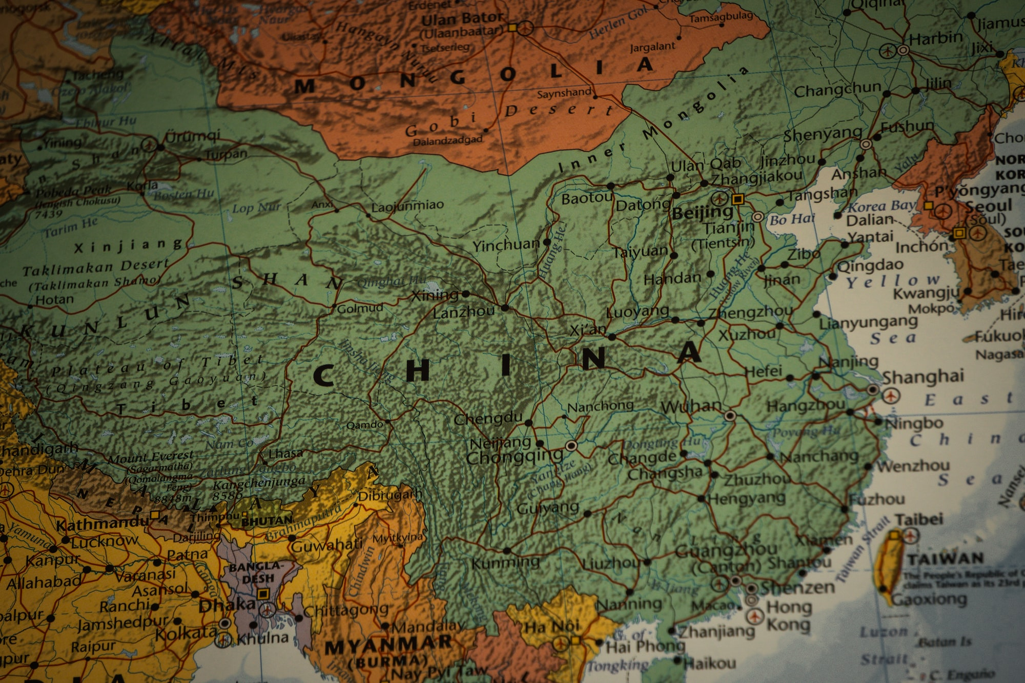 China as pictured on the world map, includes coronavirus region wuhan.