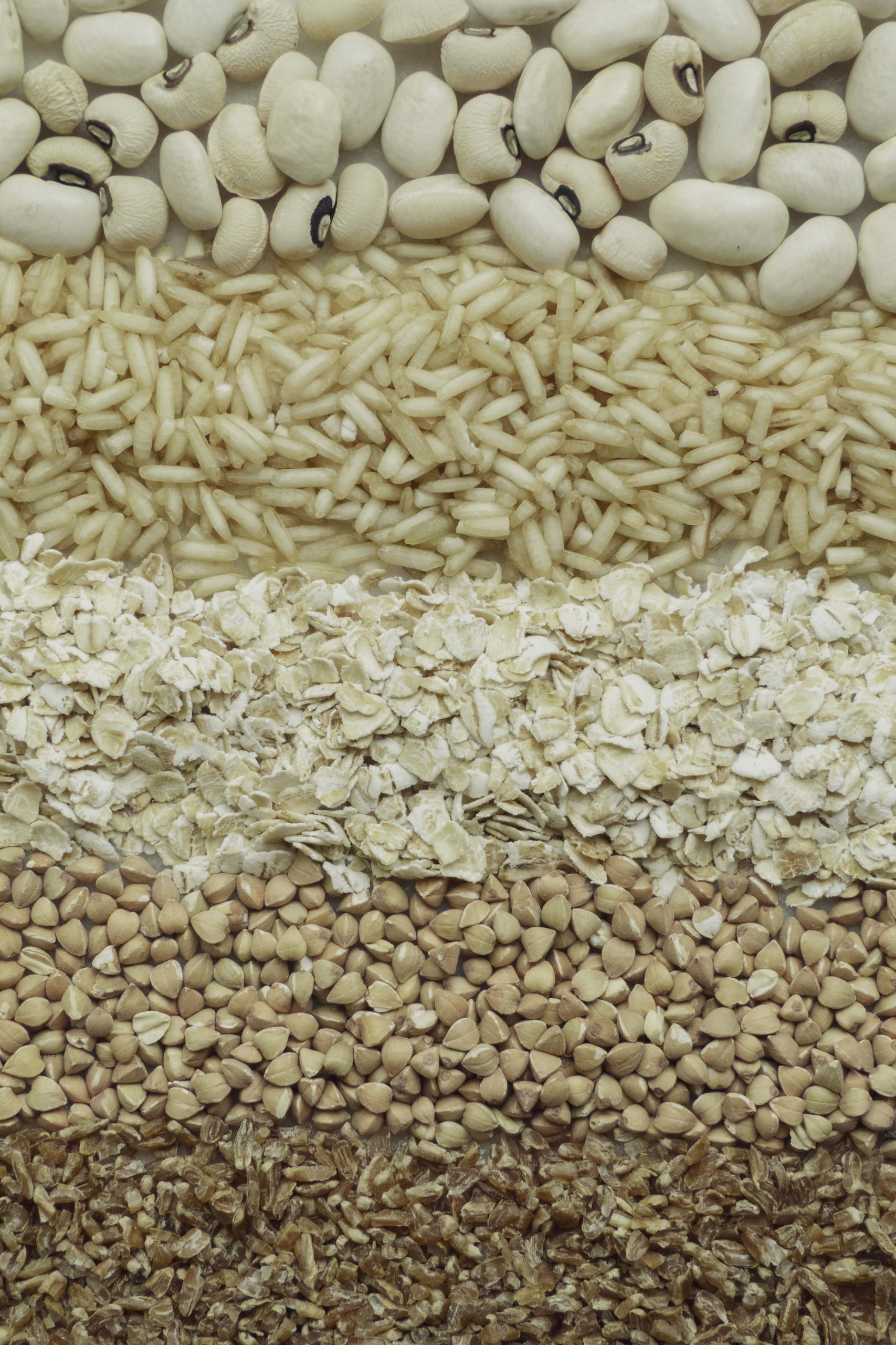 white and brown rice grains
