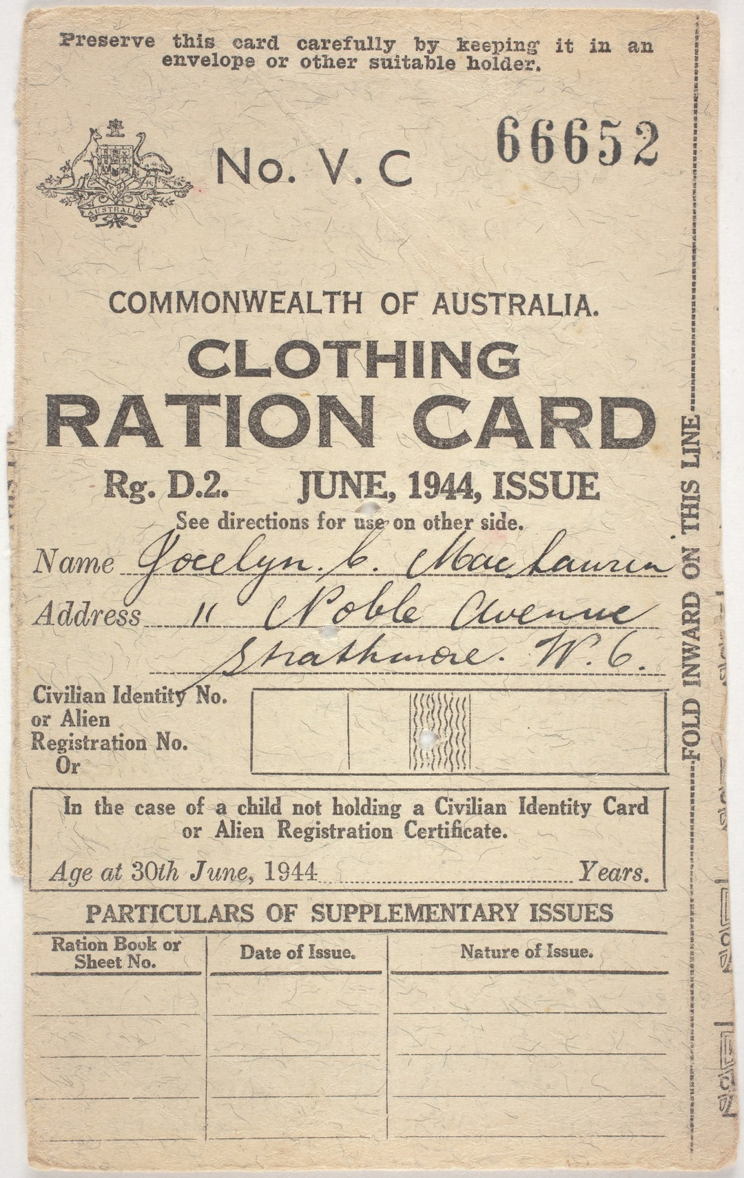 Ration Card - Clothing