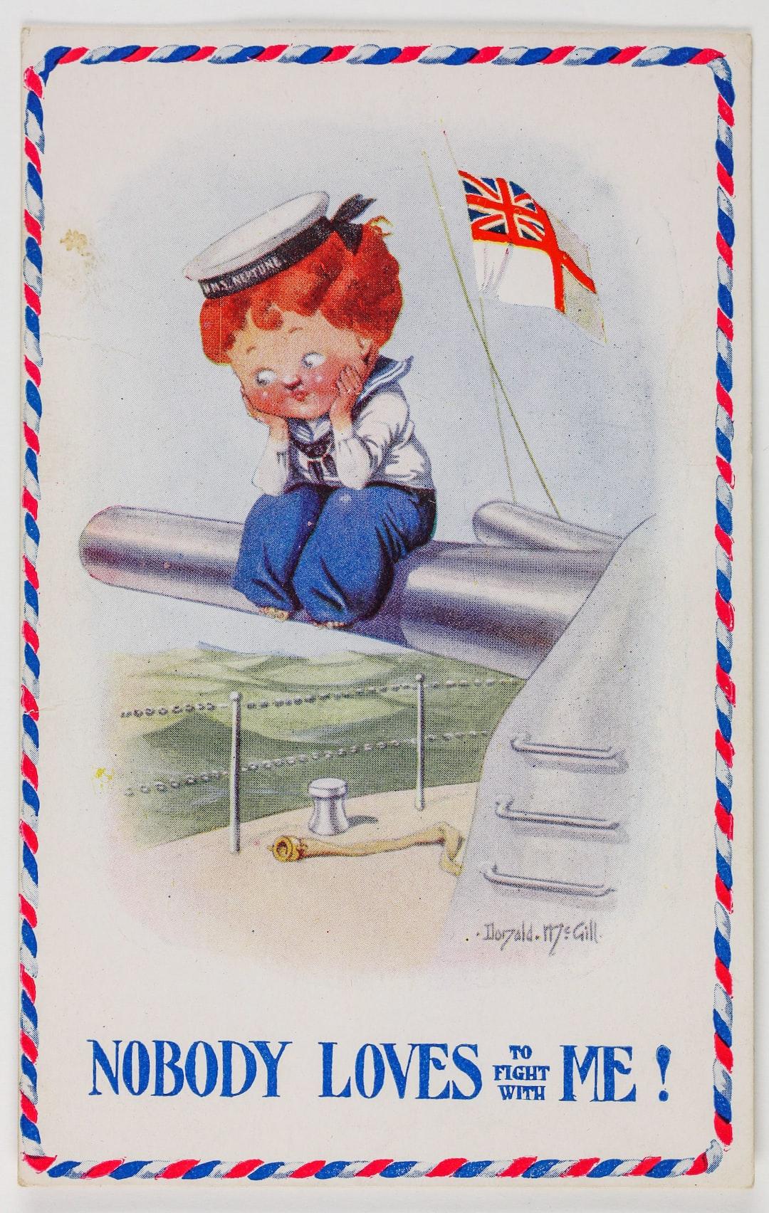 Postcard - HMAS Australia, 'Nobody Loves to Fight With Me!', 1914-1918