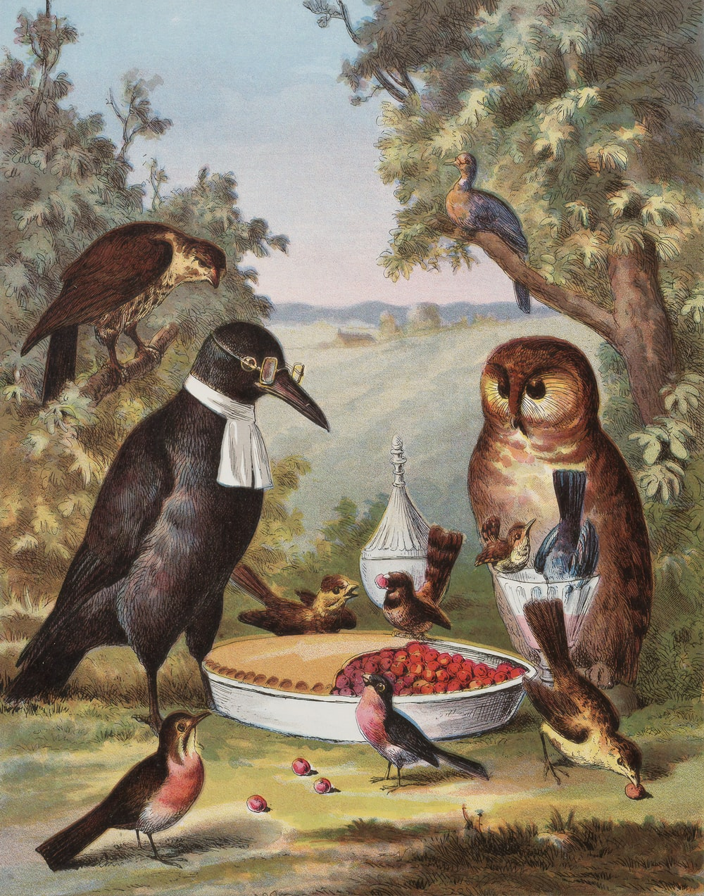 black and white bird painting