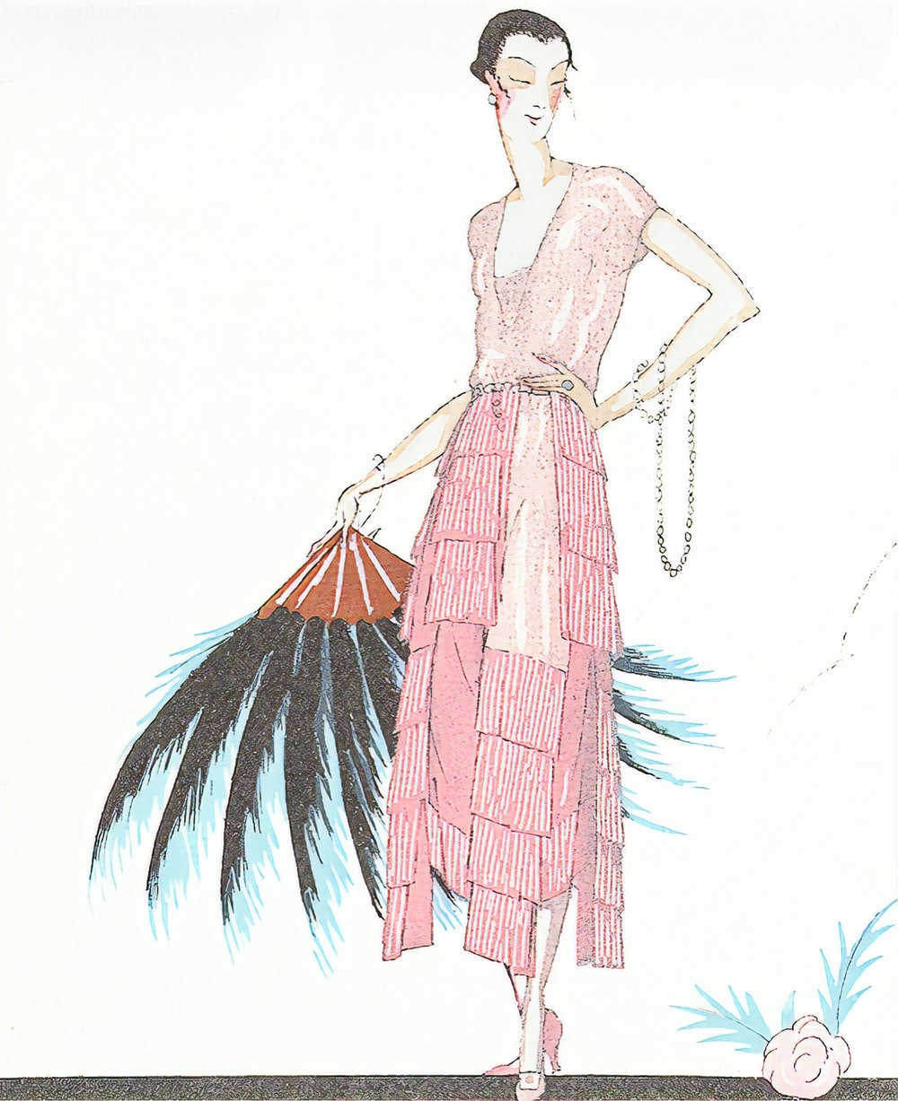 woman in pink dress standing on tree branch