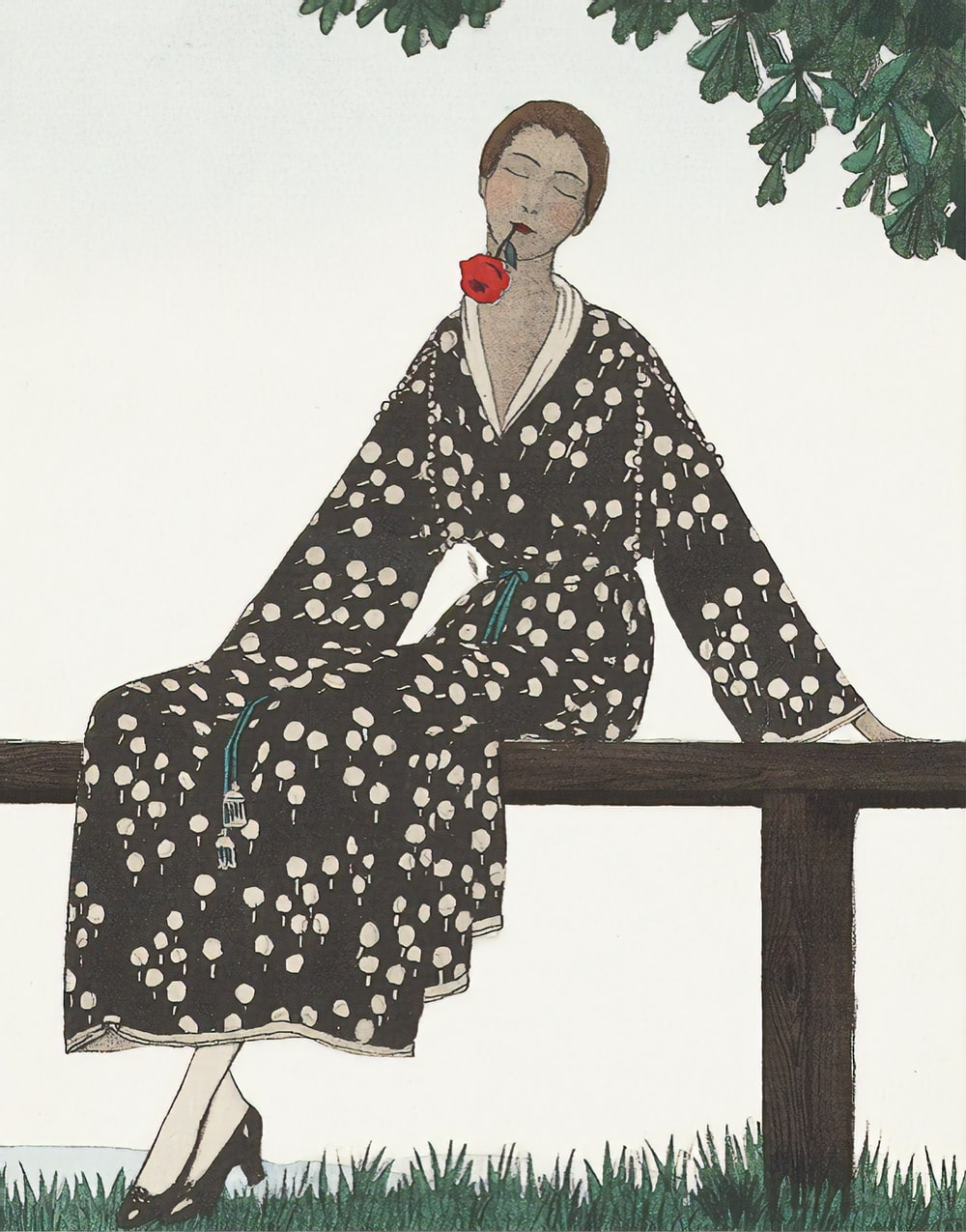 woman in black and white floral robe sitting on brown wooden bench
