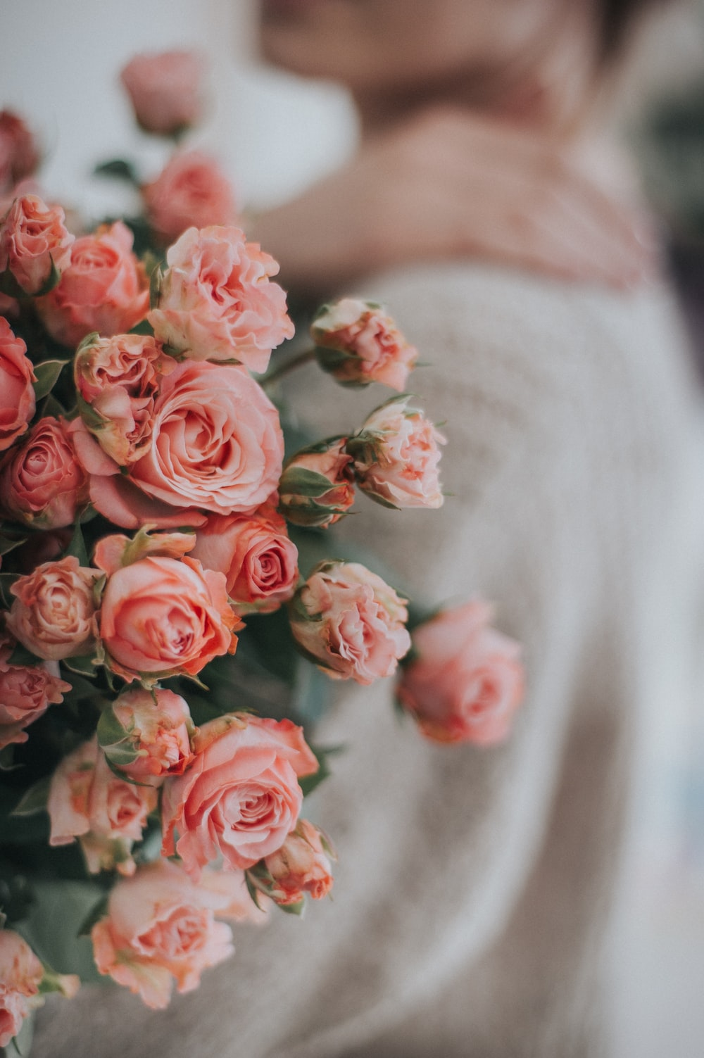 pink roses on white textile
