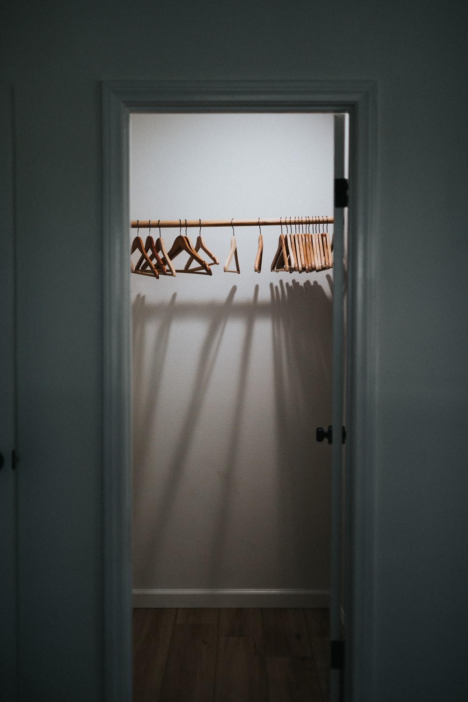 white and orange window curtain