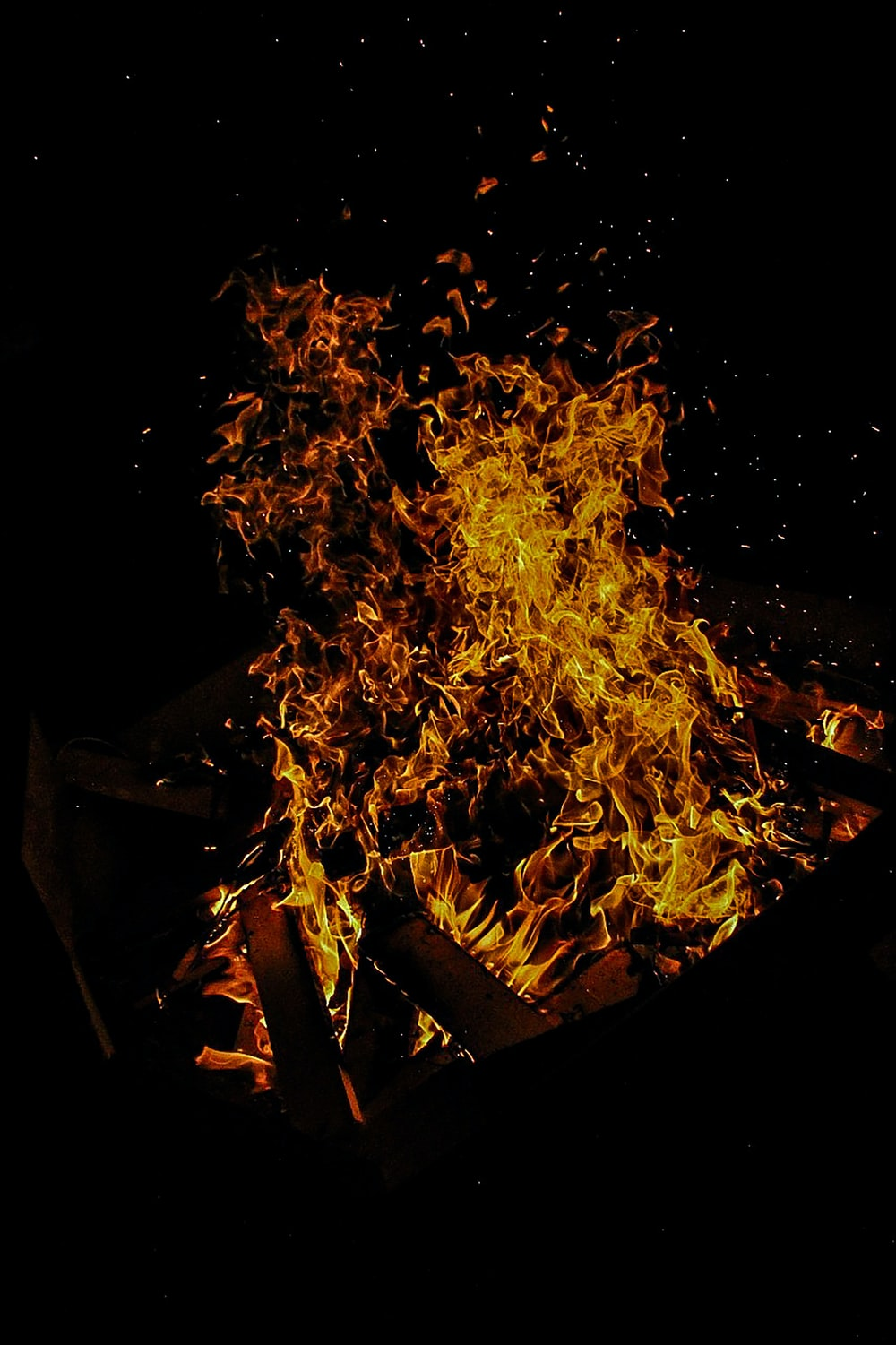 fire on fire during night time