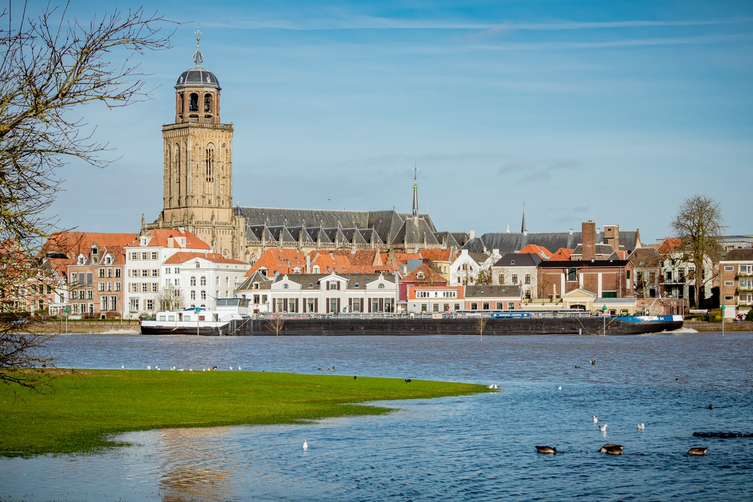 The city Deventer on a sunny day with the beautiful Lebuïnuschurch.