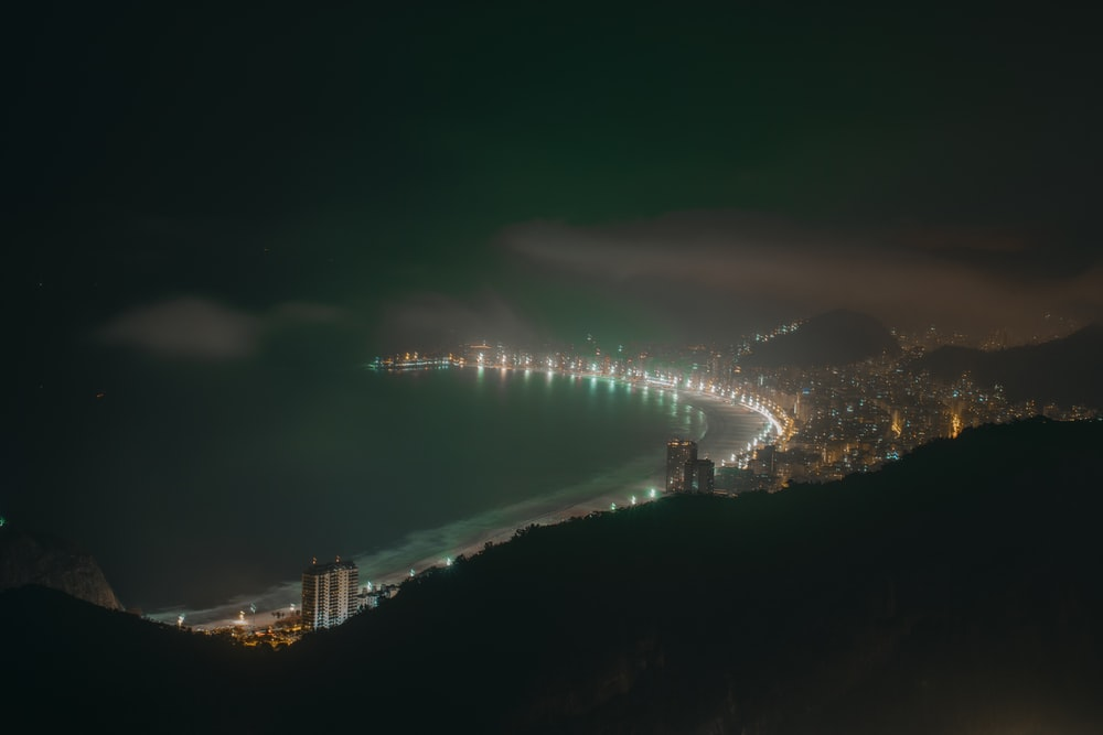 aerial view of city lights during night time