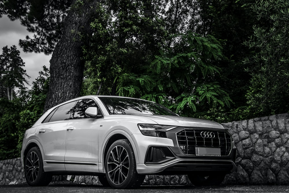 grayscale photo of mercedes benz coupe parked beside tree