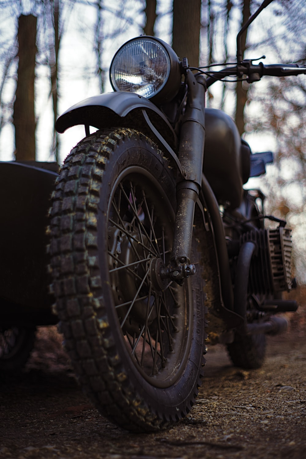 black motorcycle with black tire