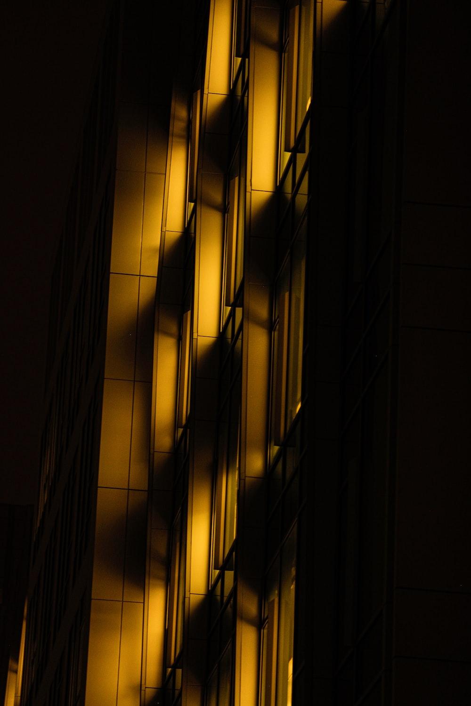 yellow and black light on dark room