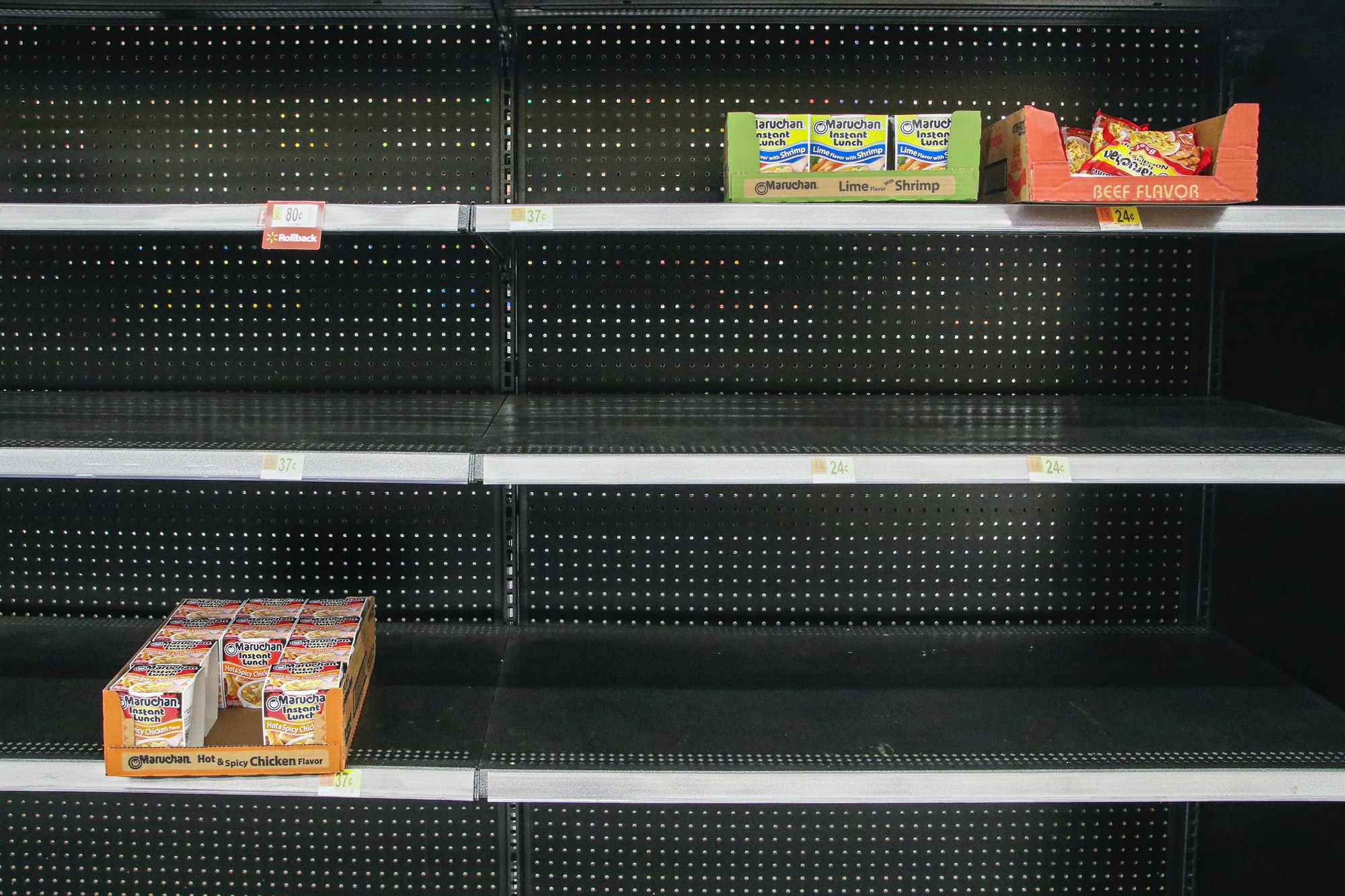 Grocery stores are experiencing major hoarding of some supplies due to the Coronavirus. As soon as items get stocked they are bought off the shelf with delivery trucks completely off schedule.