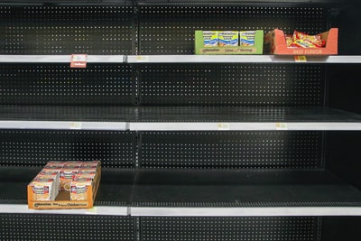 empty grocery store shelves pandemic teams background