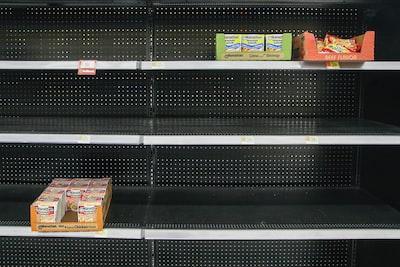 empty grocery store shelves coronavirus zoom background