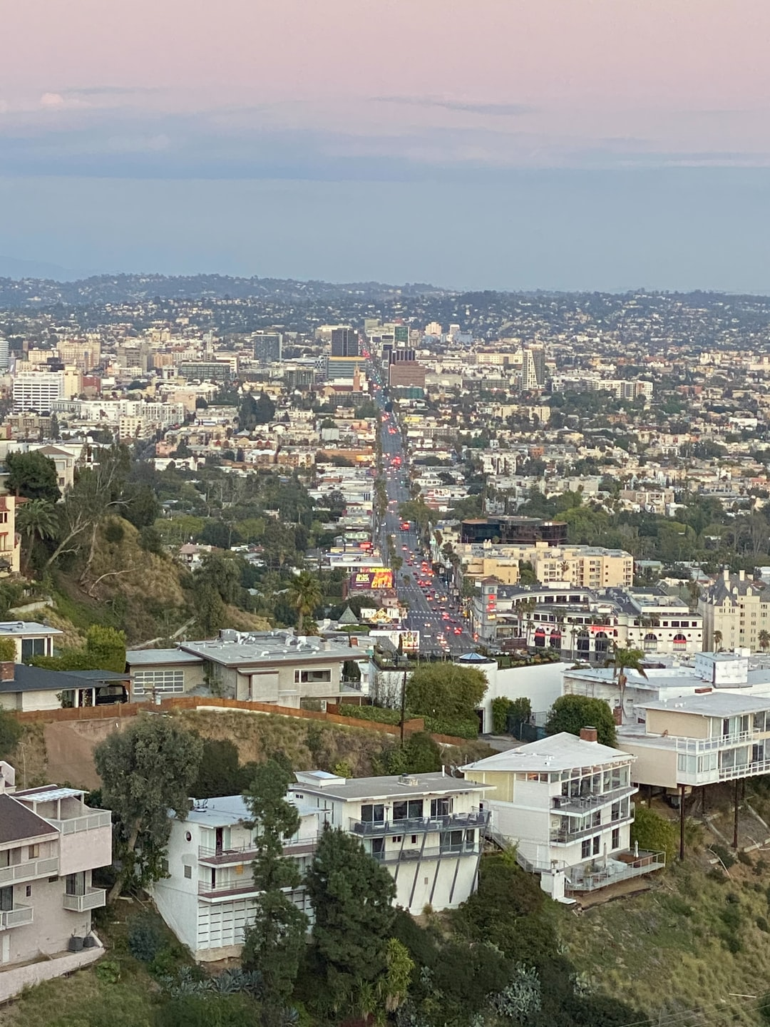 View from the West Hollywood Hills overlooking Sunset Blvd as it stretches eastward into Hollywood