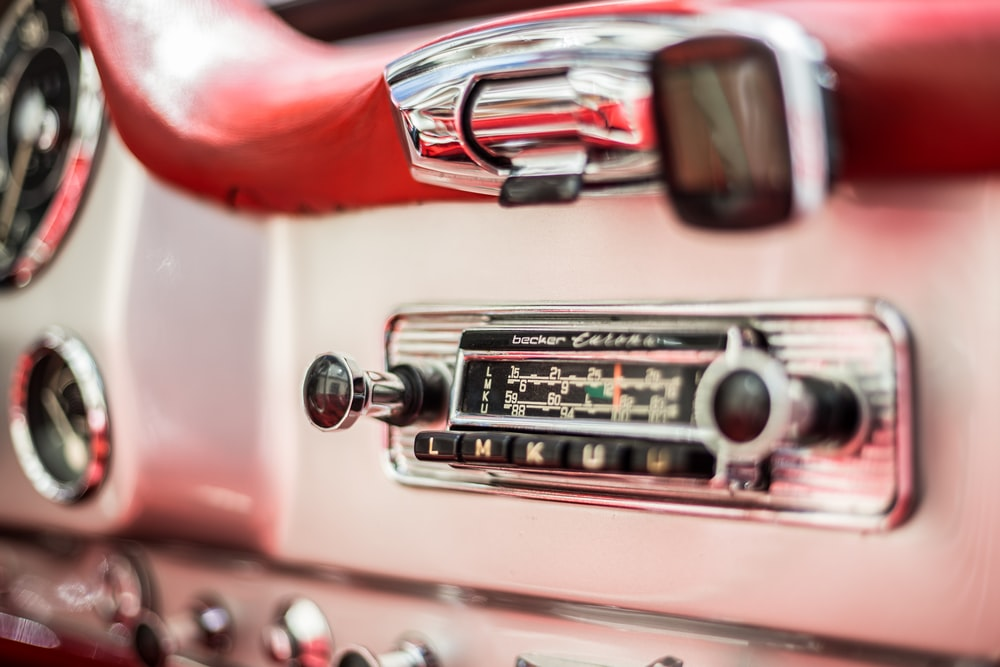 red and silver car engine