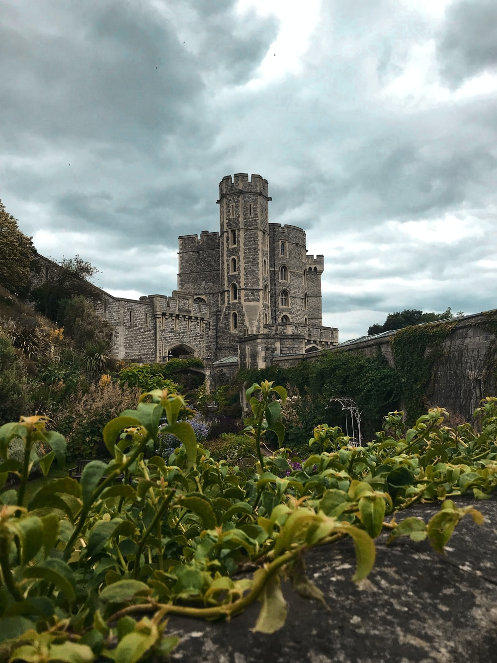 green plants near gray concrete castle under cloudy sky during daytime