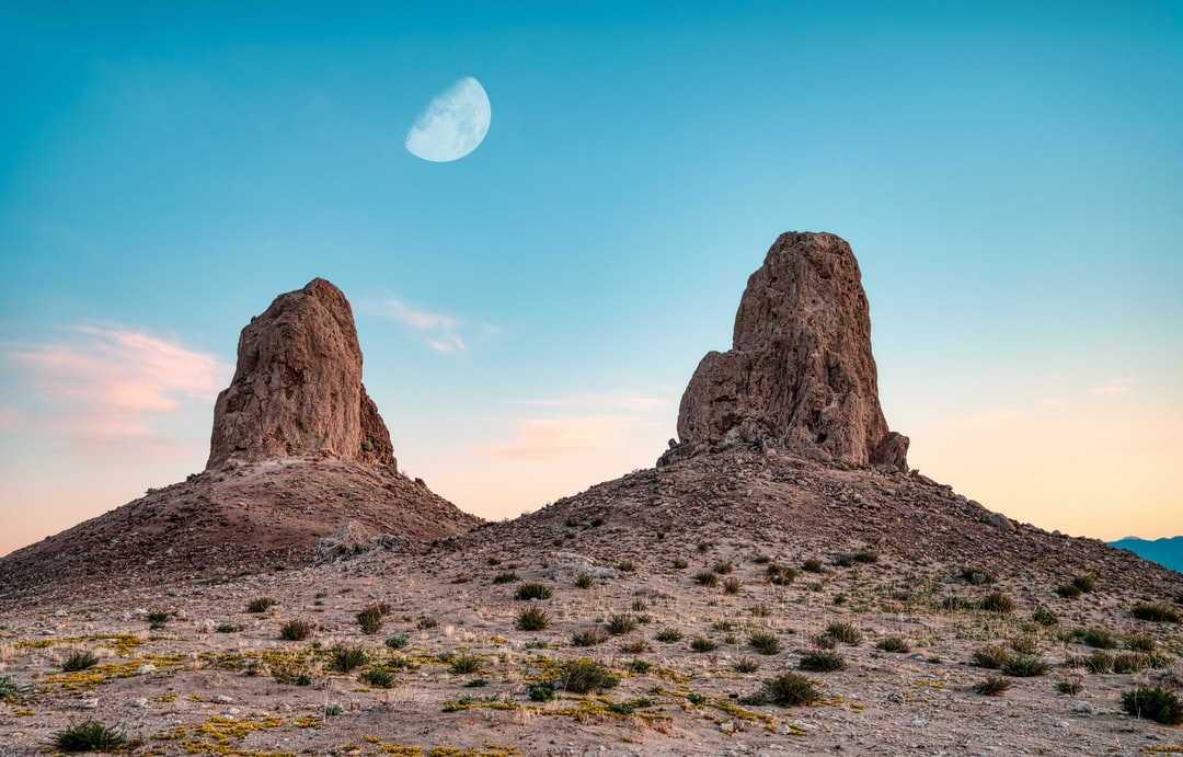 The moon over two pinnacles