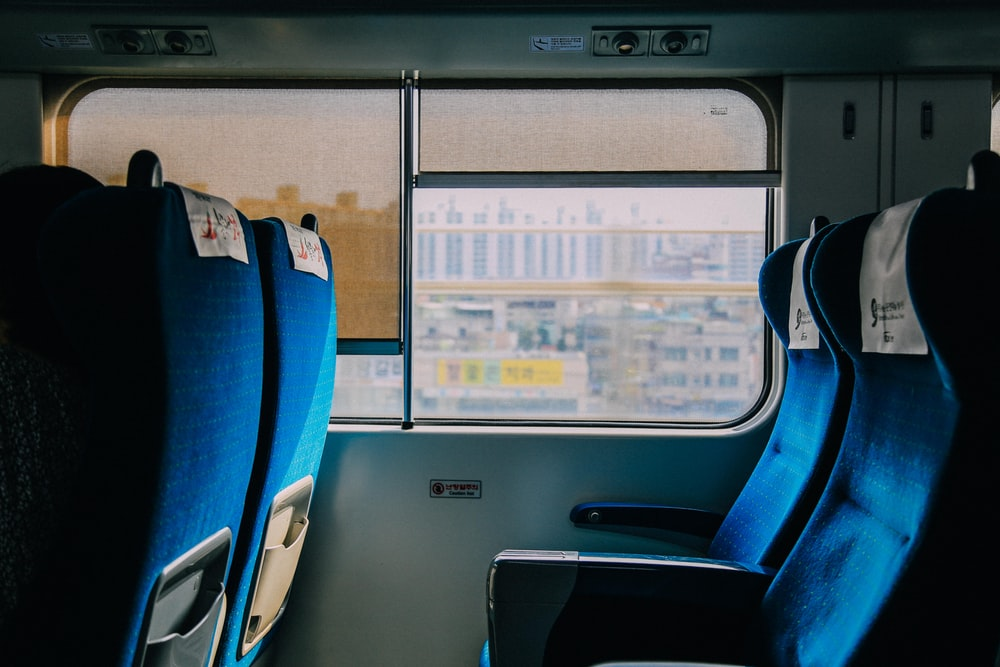 blue and black bus seats