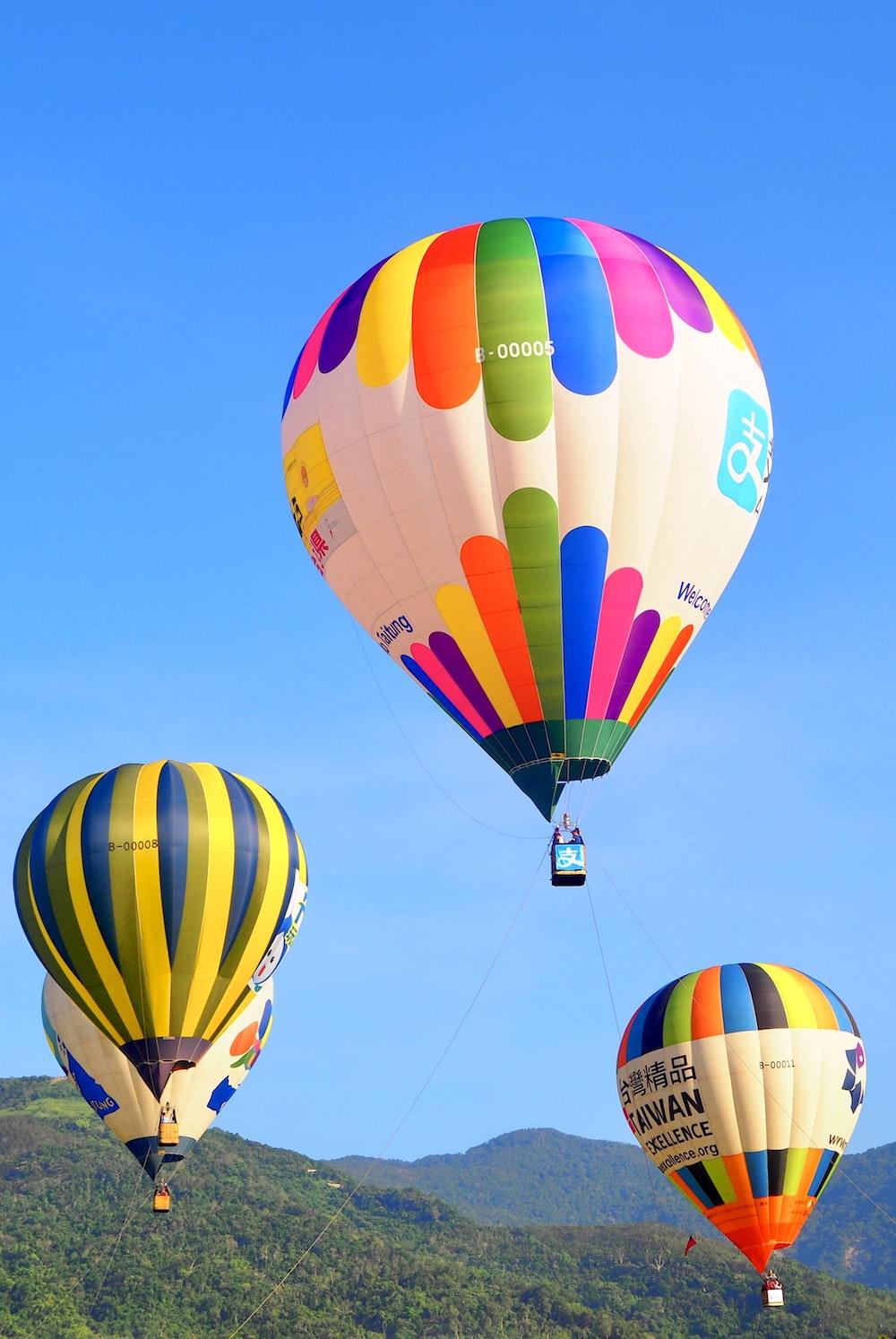 green blue and yellow hot air balloon