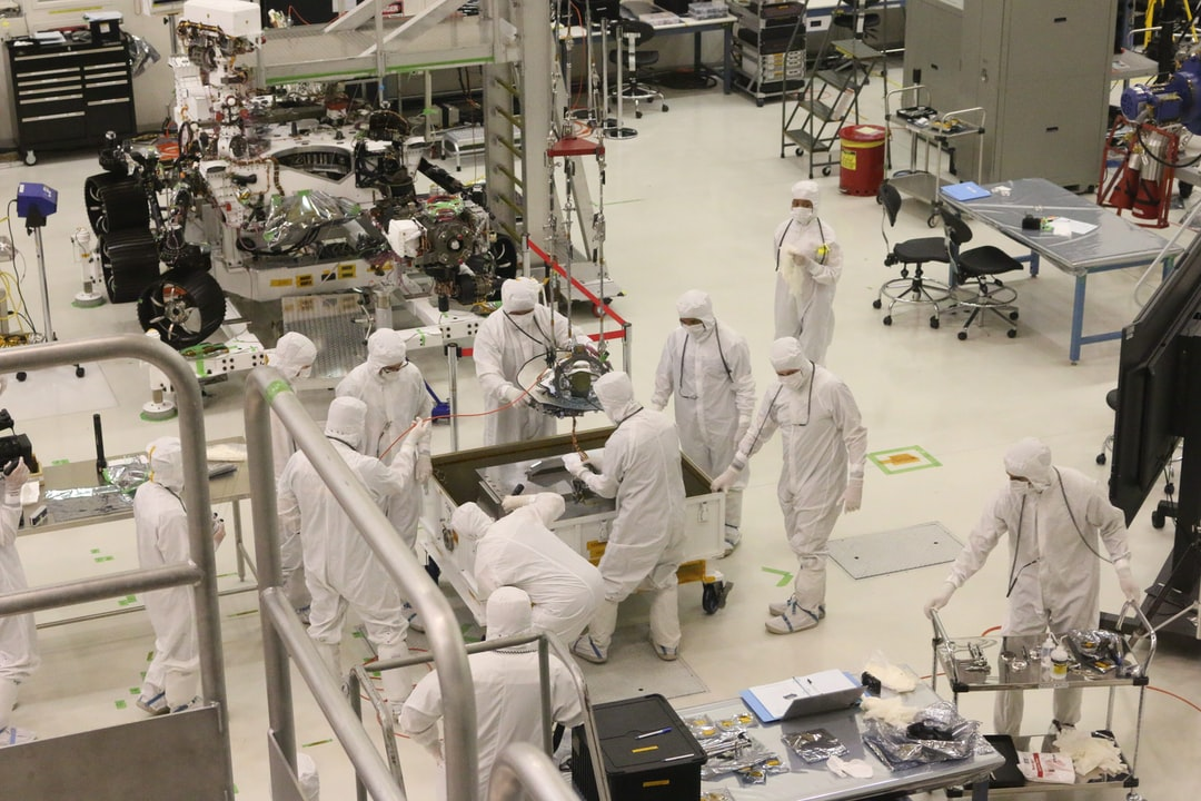 Assembling the Mars rover at Jet Propulsion Laboratory.