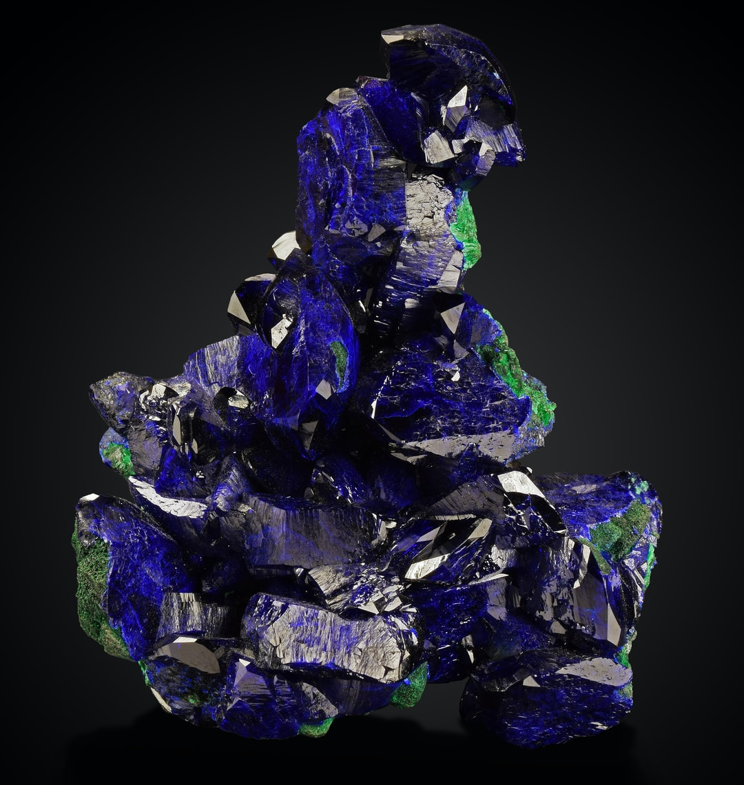 A sample of azurite, the blue mineral, and malachite, the green mineral. Both azurite and malachite are copper minerals that were once used as pigments but are now mostly valued as collectors minerals.