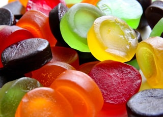 yellow green and red candies