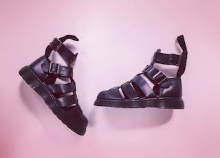 black leather open toe sandals
