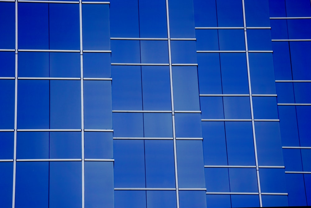 blue and white glass windows