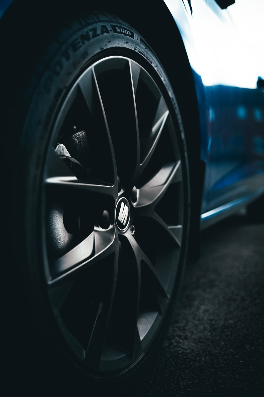 black and silver car wheel