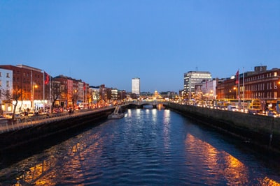 city skyline during night time dublin zoom background
