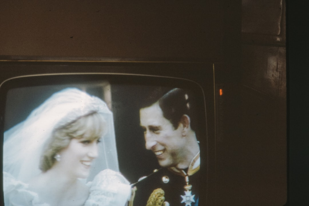 Marriage of Prince Charles to Diana Spencer, a 1980s 35mm film slide photo - back when people took photos of their TV!