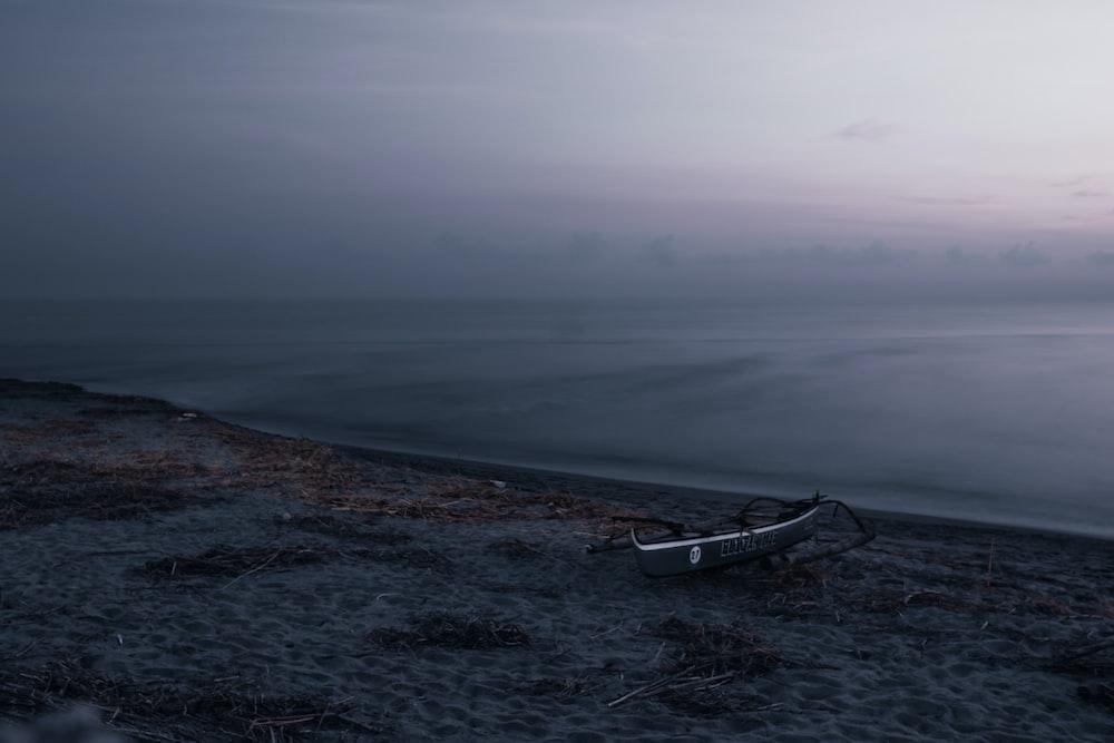 white boat on seashore during daytime